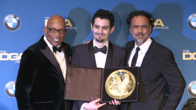paris barclay damien chazelle alejandro g inarritu at 69th annual directors guild of america awards in los angeles ca - directors guild of america awards stock videos & royalty-free footage