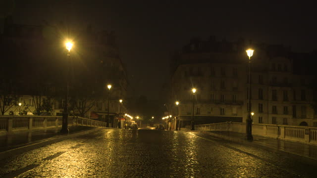 paris by night, bridge with paved street under the rain - ランプ点の映像素材/bロール