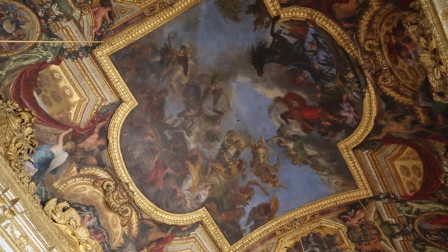 paris, ceilings with paintings in chateau de versailles - chateau de versailles stock videos and b-roll footage