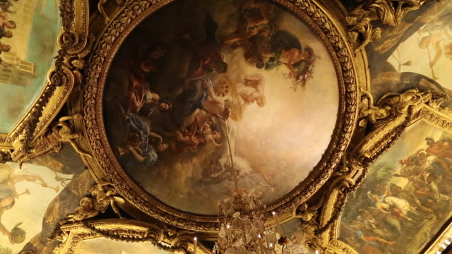 paris, ceilings with paintings in chateau de versailles - palace video stock e b–roll