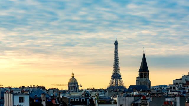 Paris City Skyline Sunset Timelapse