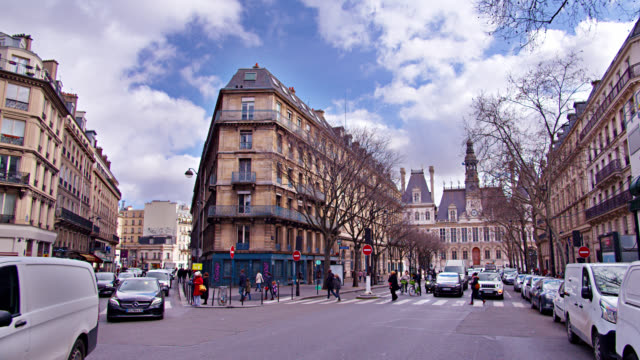 paris city street. clouds in the sky. shopping street. - civilian stock videos & royalty-free footage