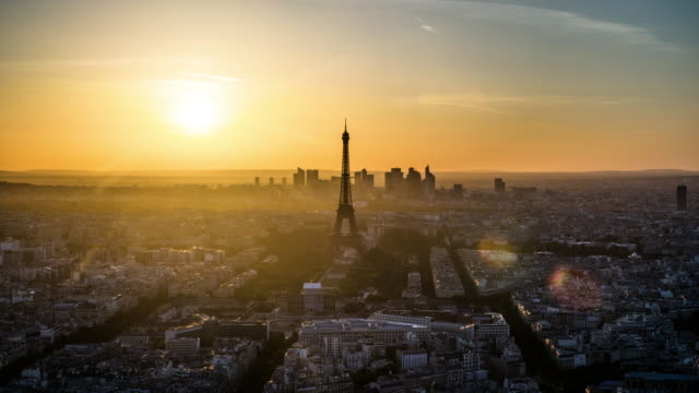 time lapse: paris cityscape day to dusk - eiffel tower stock videos and b-roll footage