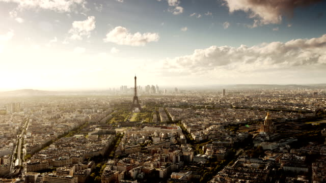 paris cityscape from montparnasse tower - eiffel tower paris stock videos & royalty-free footage