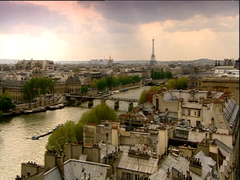 paris cityscapes and architecture including eiffel tower seine and le pantheon - pantheon paris stock videos & royalty-free footage