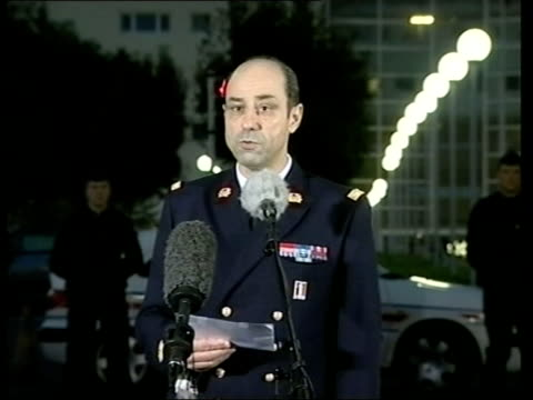 clamart: ext/night french military hospital spokesman speaking on behalf of mrs arafat saying that yasser arafat is not dead sot **flash... - spokesman stock videos & royalty-free footage