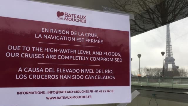 paris closes access to the seine after rising water levels caused the banks of the river to flood - île de france video stock e b–roll