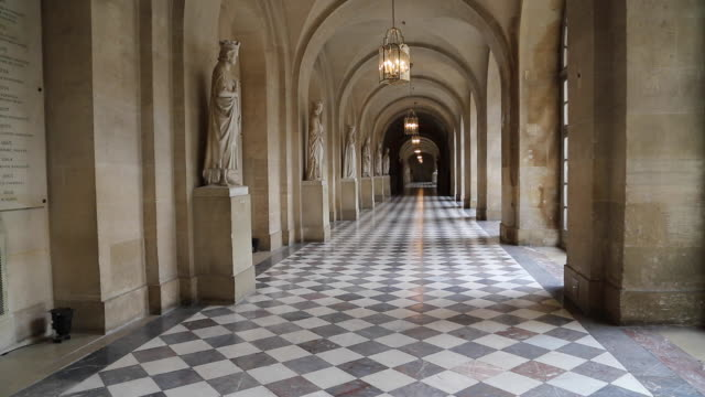 Paris, corridors with statues, Chateau de Versalilles