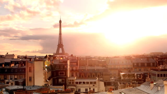 paris eiffel tower sunset panorama - eiffel tower stock videos and b-roll footage