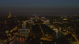 Paris France Aerial v46 Crossing Seine to panning view of Left Bank with Eiffel Tower, Notre Dame, and Pantheon 8/18