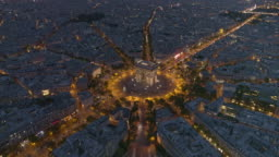 Paris France Aerial v58 Flying over Place Charles de Gaulle looking down at Arc de Triomphe to cityscape view 8/18
