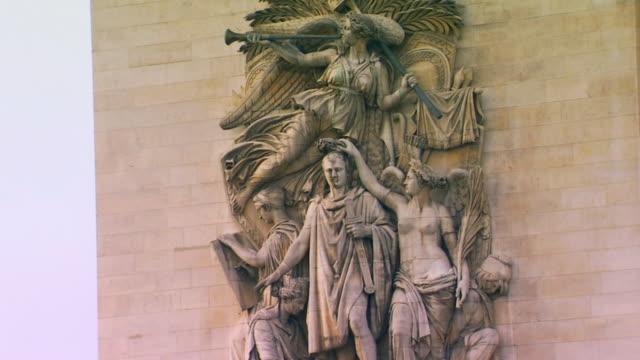 paris, francel'arc de triomphe details - triumphal arch stock videos & royalty-free footage