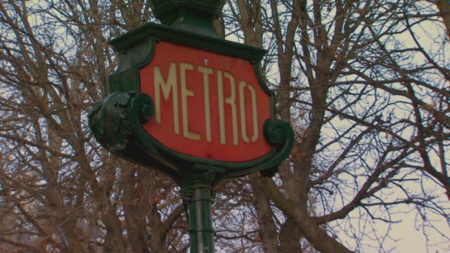 paris, francemetro street sign - french culture stock videos & royalty-free footage