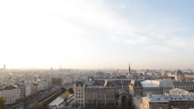 paris gargoyle panorama from notre dame - eiffel tower stock videos & royalty-free footage