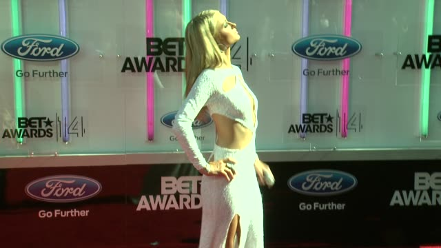 paris hilton at the 2014 bet awards on june 29 2014 in los angeles california - bet awards stock videos and b-roll footage