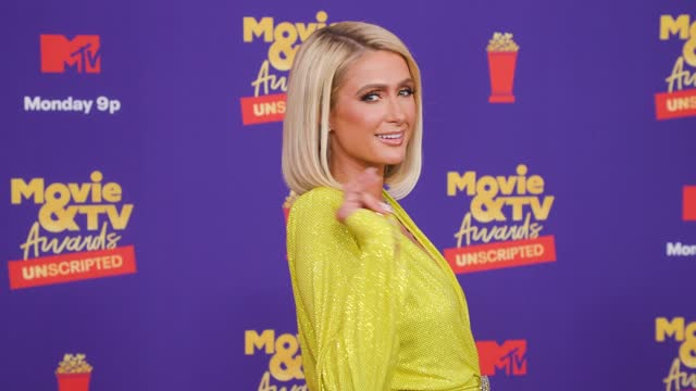 paris hilton at the 2021 mtv movie & tv awards: unscripted - red carpet on may 17, 2021. - mtv1 stock videos & royalty-free footage