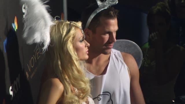 paris hilton doug reinhardt at the heidi klum's 10th annual halloween party at west hollywood ca - paris hilton stock videos & royalty-free footage