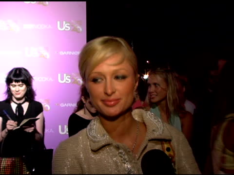 paris hilton on when her album will be out and on her emmy weekend plans at the us weekly's young hollywood hot 20 at lax in hollywood, california on... - us weekly stock videos & royalty-free footage