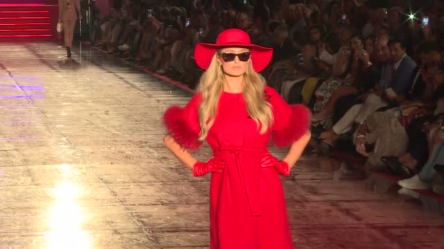 paris hilton walks the runway during the annual dosso dossi fashion show in turkey's southern resort city of antalya on june 10, 2018 - fashion show stock videos & royalty-free footage
