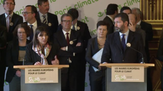 paris hosted the mayors of 30 european cities to launch a joint initiative on climate change with the aim of highlighting the central role of cities... - 2015 stock videos & royalty-free footage