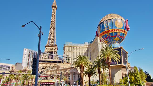 paris hotel. las vegas. grand view of cityscape - paris las vegas stock videos & royalty-free footage