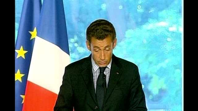 paris: int nicolas sarkozy address sot - ceasefire agreement requires signature of russian president, georgian president and mine and must be applied... - president of france stock videos & royalty-free footage