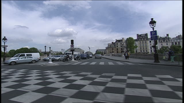 pov of paris intersection from a car - anno 2002 video stock e b–roll