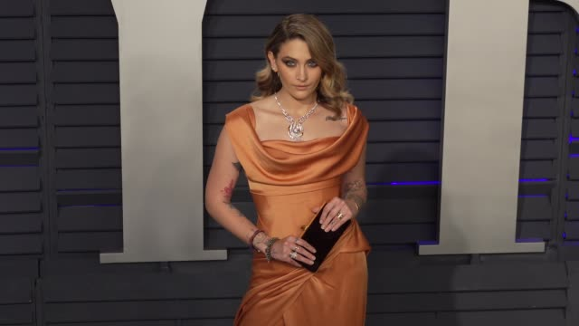 paris jackson at 2019 vanity fair oscar party hosted by radhika jones at wallis annenberg center for the performing arts on february 24, 2019 in... - vanity fair oscar party stock videos & royalty-free footage
