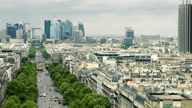 paris la defense area panning - avenue des champs elysees stock videos & royalty-free footage