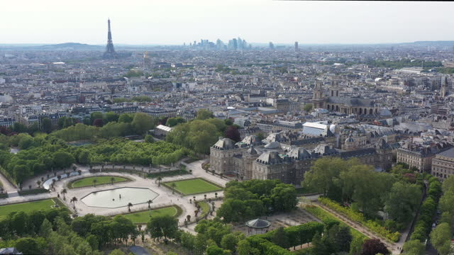 paris luxembourg gardens and palais drone aerial view - paris france video stock e b–roll