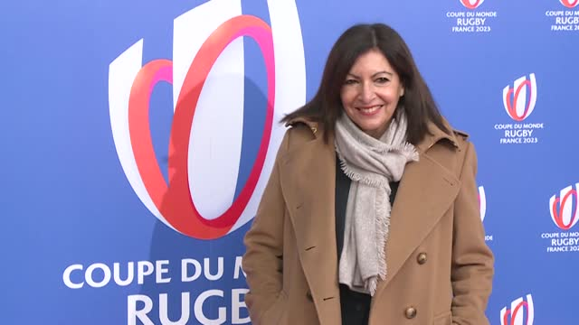 paris mayor anne hidalgo and her deputy pierre rabadan, and claude atcher, organising committee ceo for the 2023 rugby world cup, arrive for the... - le bourse quarter stock videos & royalty-free footage