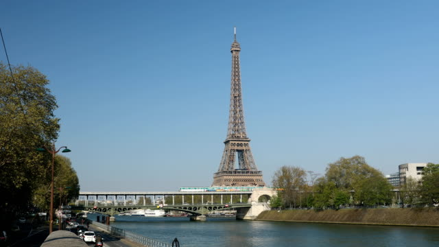 paris metro eiffel tower view - eiffel tower stock videos & royalty-free footage