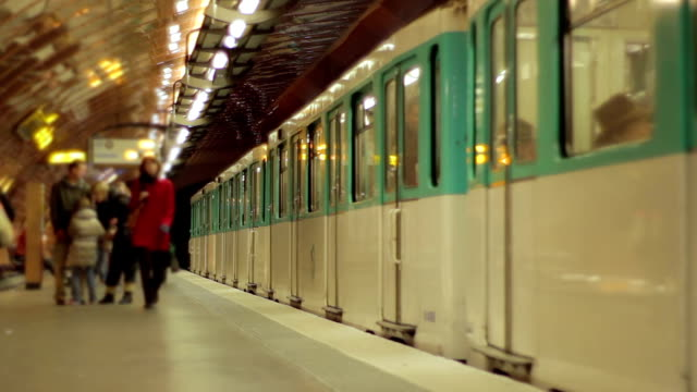 paris metro - fast motion - underground rail stock videos & royalty-free footage
