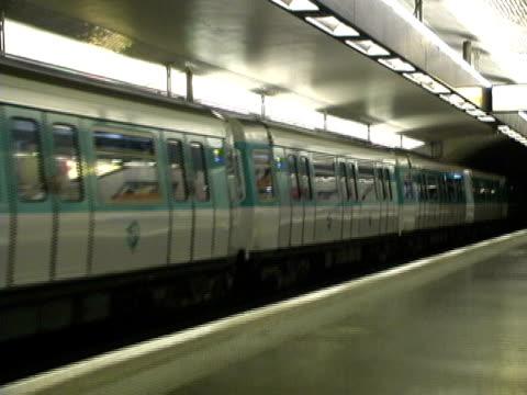 Paris Metro Subway Train Arrives