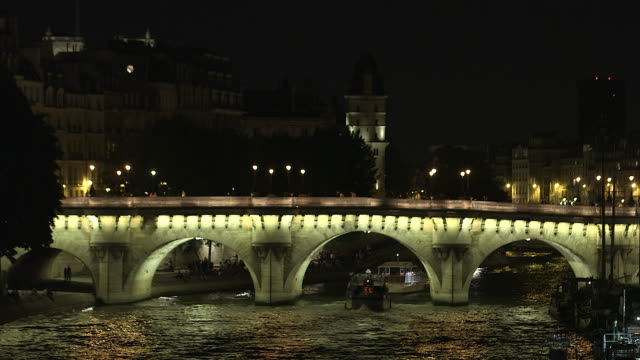 paris monument at night, new bridge - ポンヌフ点の映像素材/bロール
