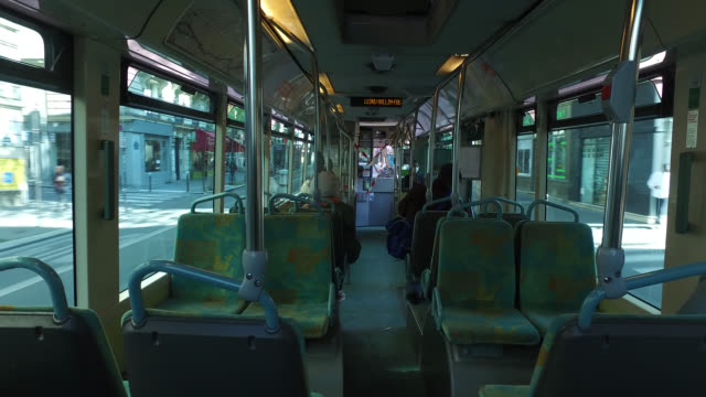 paris on april 20 four people on a bus after the end of the confiment the government may make the use of masks compulsory on public transport - four people stock videos & royalty-free footage