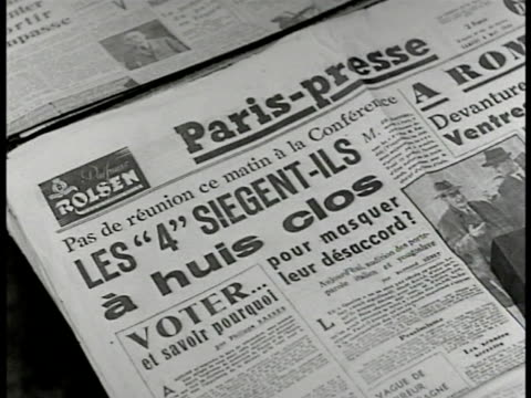 paris presse headline 'les '4' siegentils a huis clos' ms french man reading newspaper on street bench ms carriage driver sitting in carriage w/... - 1946 stock videos and b-roll footage