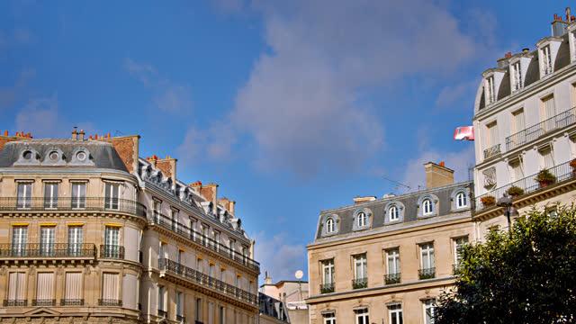 paris residential building skyline - france stock videos & royalty-free footage