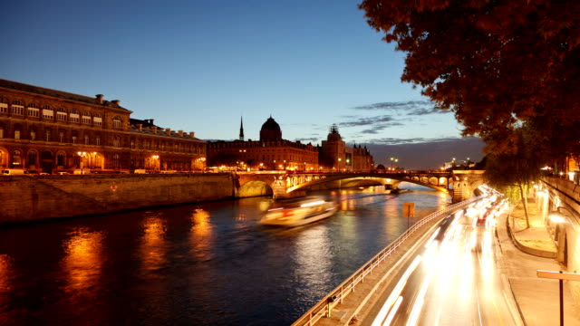 paris river time lapse - seine river stock videos and b-roll footage