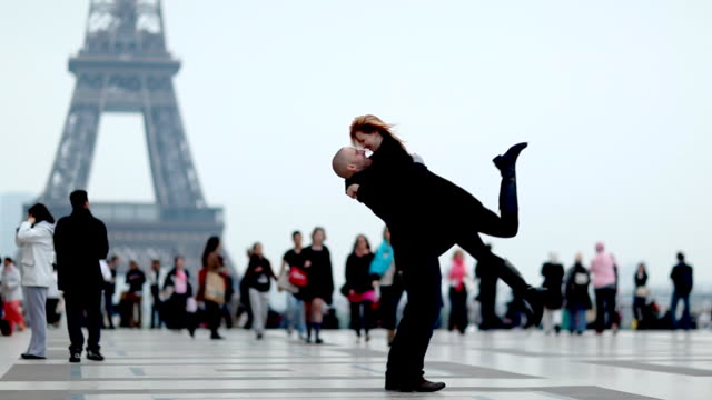 paris romance couple - eiffel tower stock videos and b-roll footage