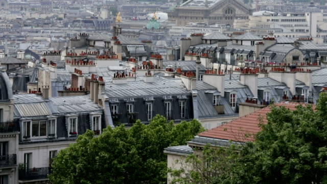 Paris roofs panning to left