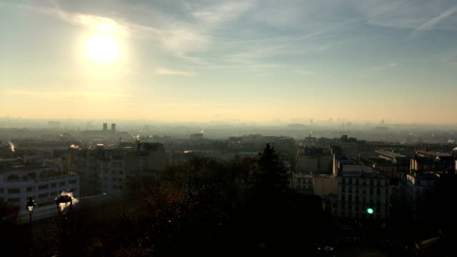 paris rooftops view from square louise michel in montmartre - basilique du sacre coeur montmartre stock videos & royalty-free footage