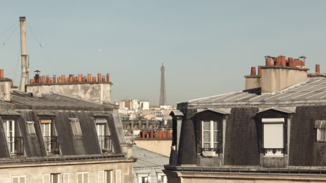 Paris rooftops with view of Eiffel Tower (plane passing)