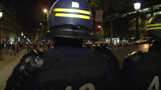 paris saint germain fans celebrate on the champs elysees after their side clinched the french league title despite a 21 defeat against rennes at the... - rennes stock videos & royalty-free footage