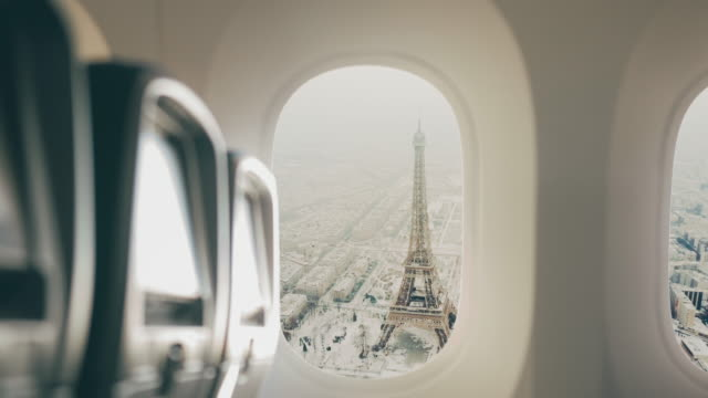 paris seen from the airplane. - tourism stock videos & royalty-free footage