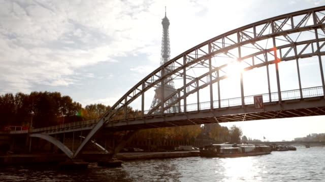 paris seine eiffel tower - eiffel tower stock videos & royalty-free footage