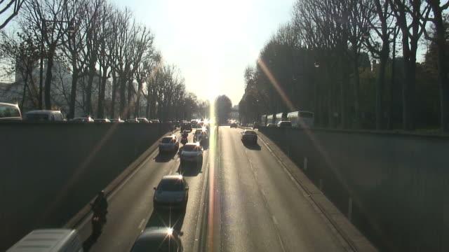 (HD1080i) Paris: Seine River-side Traffic Enters Tunnel