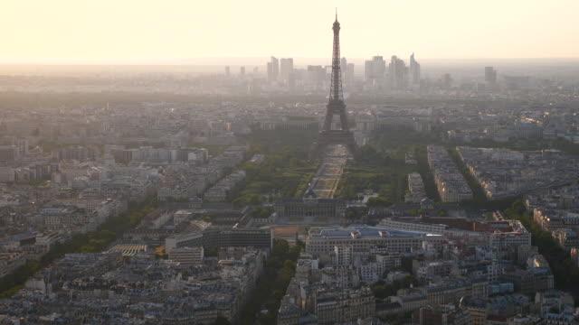 paris skyline aerial view at sunset time - eiffel tower paris stock videos & royalty-free footage