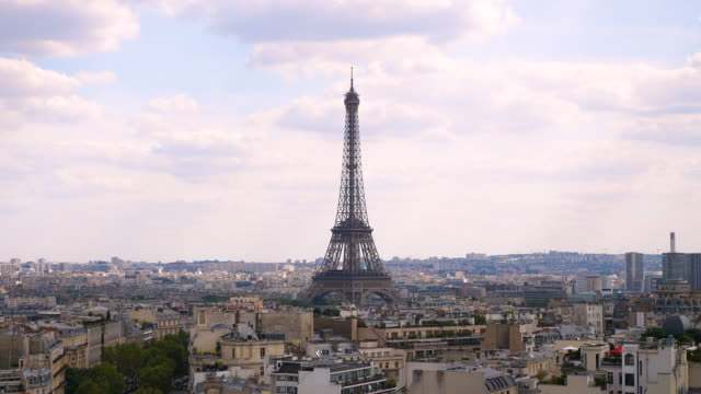 paris skyline aerial view at sunset time - eiffel tower paris stock videos & royalty-free footage