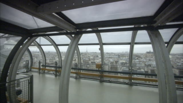 ws pan paris skyline from pompidou centre viewing platform, france - floating moored platform stock videos & royalty-free footage